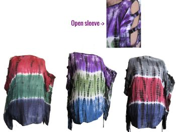 Gorgeous hippy tie dye ,strappy open sleeve ruch top,different looks