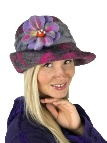 Pretty big flower felt hat