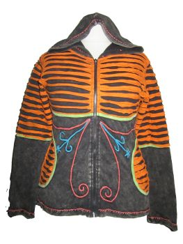 Funky razor cut and embroidery  hippy  hoodie