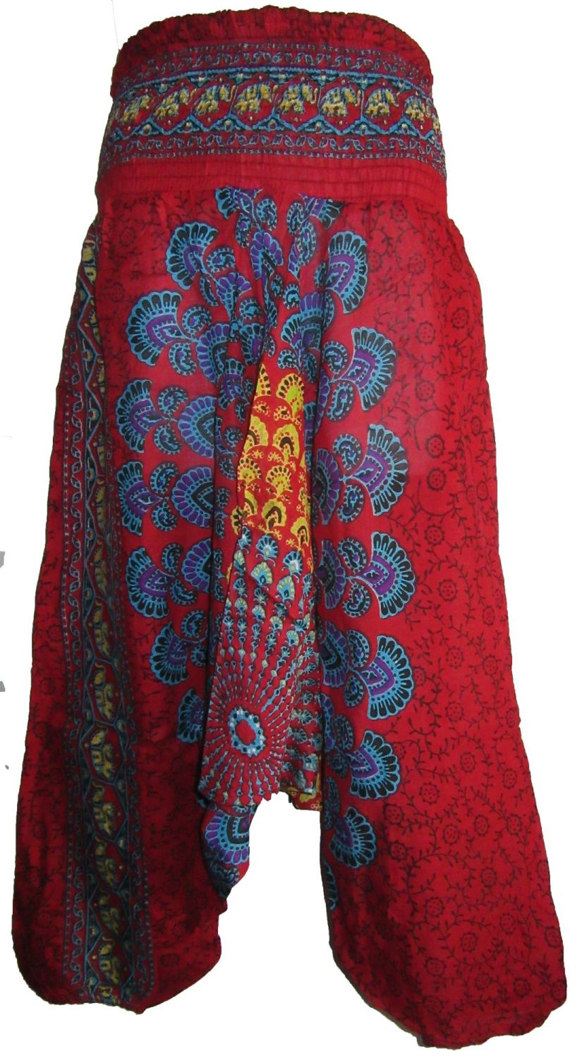 Funky peacock harem trousers , 2 looks size approx 10-16