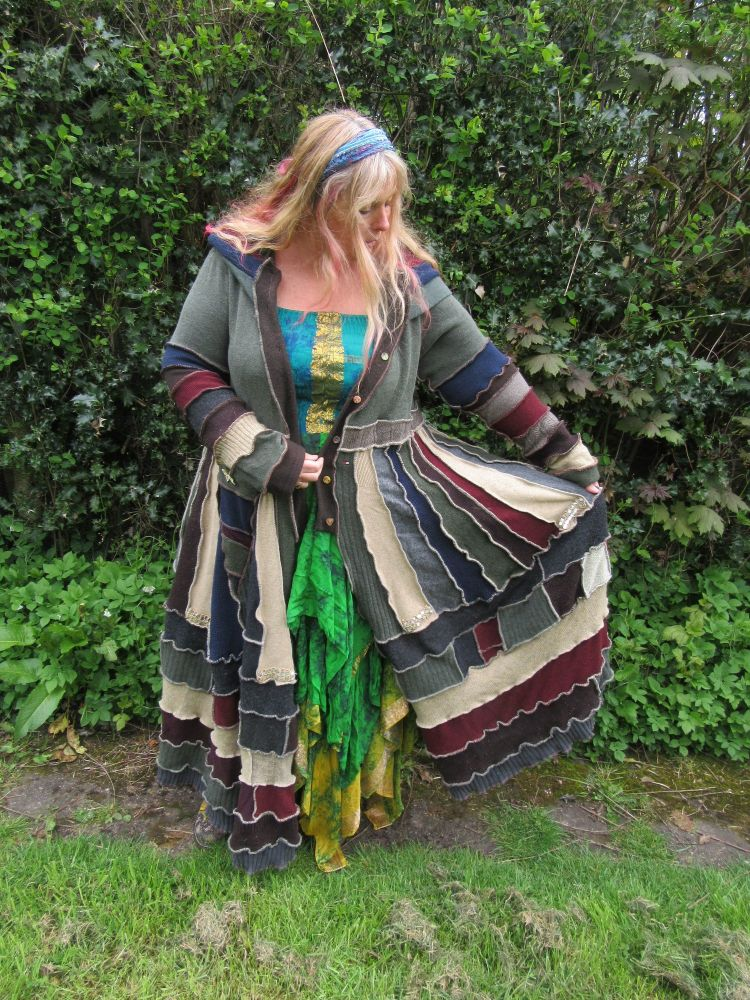 Beautiful full length fae sweater coat with long pixie hood from America ,p