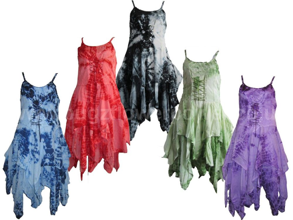 Stevie tie dye waterfall corset dress