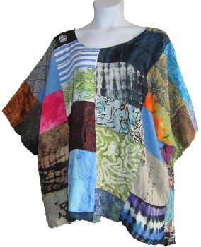 Plus size patchwork tunic top approx size 28-32