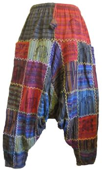 Hamari criss cross stitch patchwork harem trousers