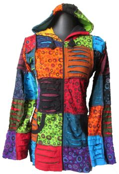 Funky hippy, festival  patchwork razor cut hooded jacket