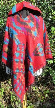 Snuggly hippy, boho hooded poncho