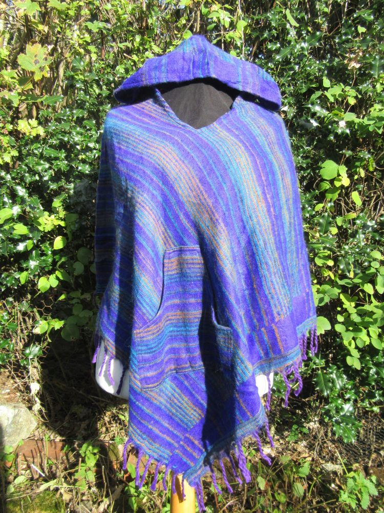 Snuggly hippy, boho hooded poncho