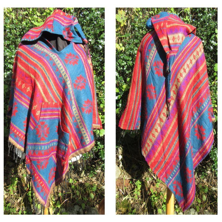 Snuggly hippy, boho pixie hooded poncho