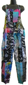 Funky hippy patchwork dungarees approx size 10-14