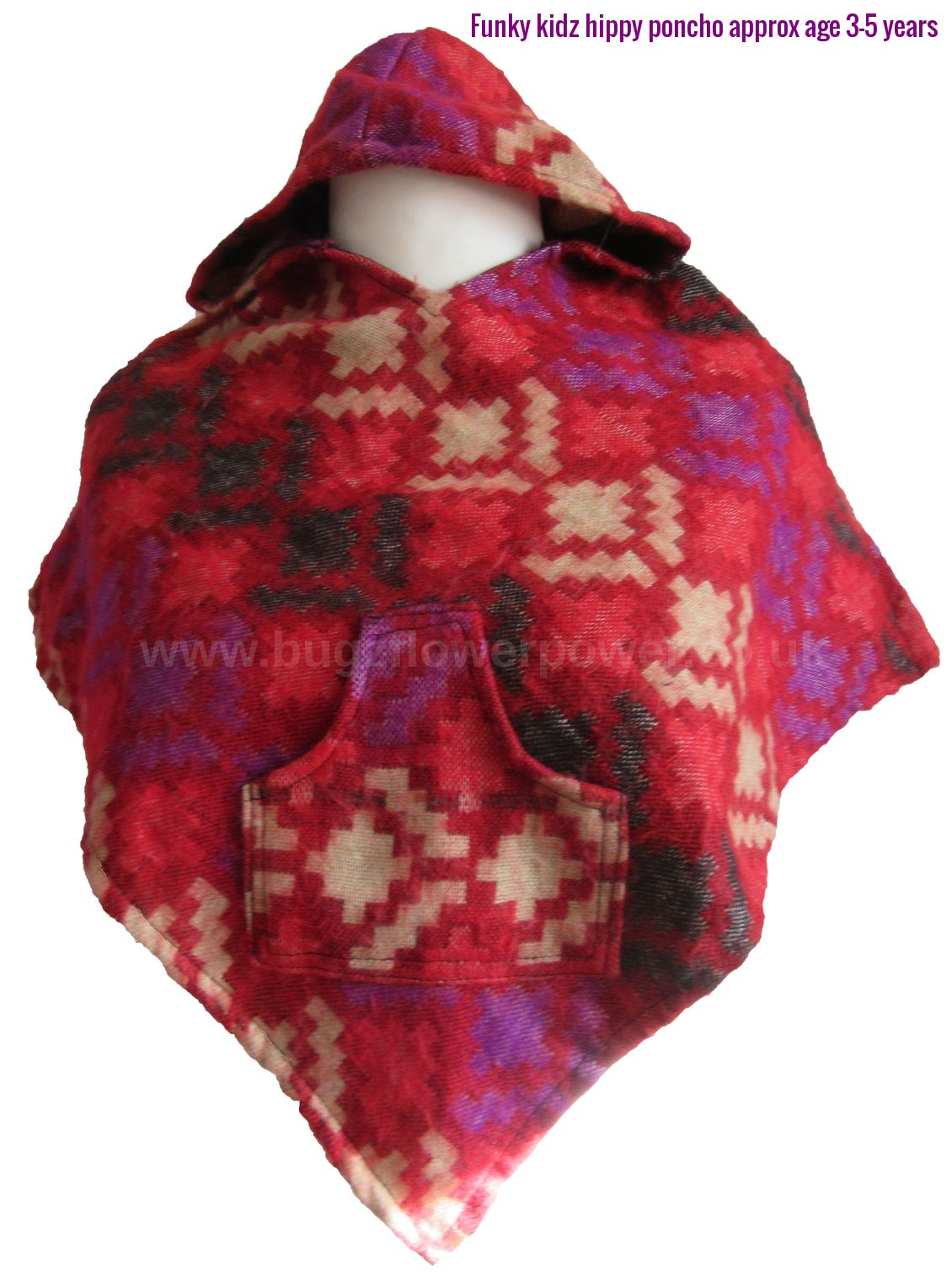 Funky kidz hippy rounded hood poncho approx 3-5 years