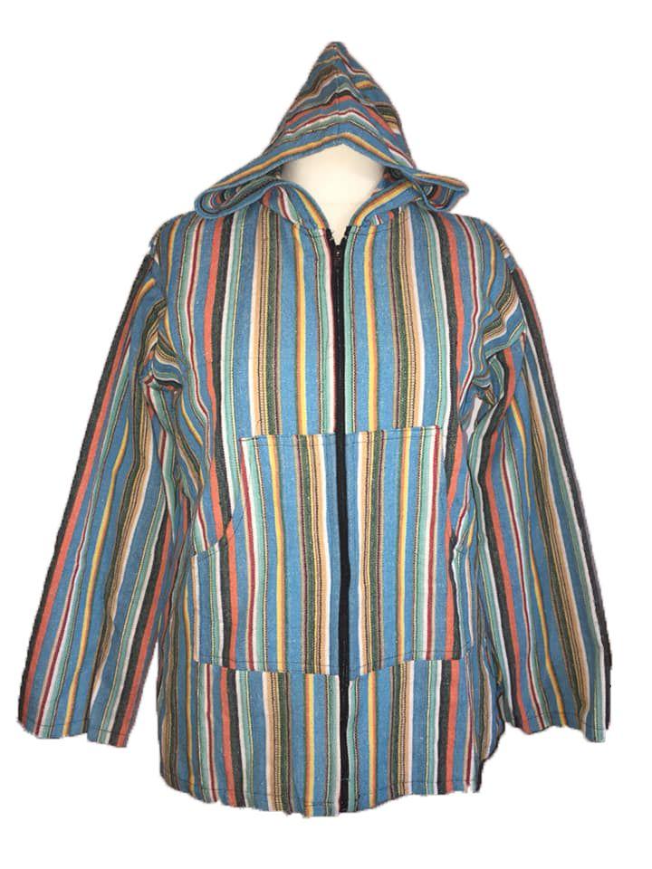 Funky hippy zip front hoodie jacket