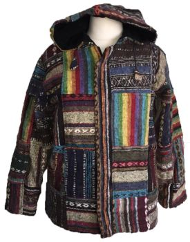 Funky patchwork soft fleece lined jacket  with pixie hood approx 38-40 inches bust/chest, approx 28 inche long]