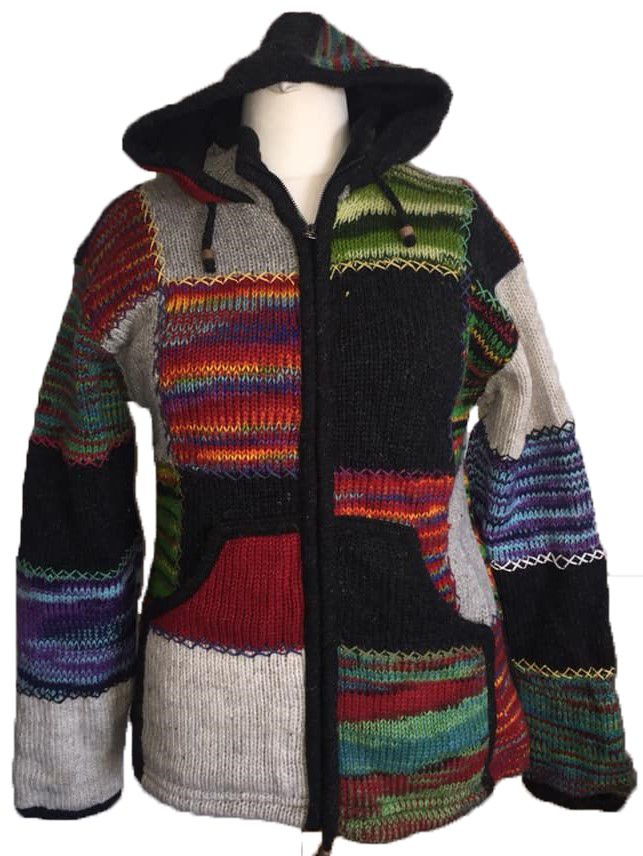 Fleece lined wool jacket with criss cross stitching 38-40 inches bust / che