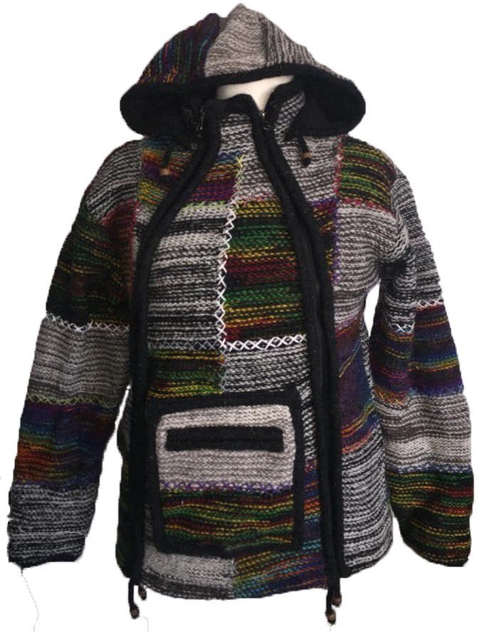 Fleece lined wool jacket with criss cross stitching 38 inches bust / chest