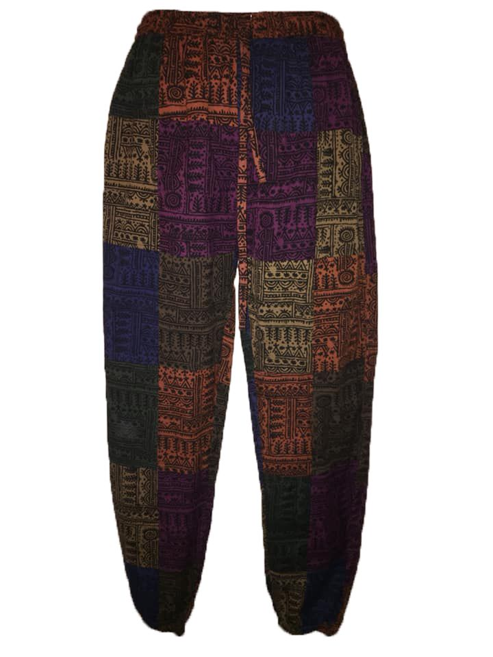 Thai printed patchwork trousers trousers