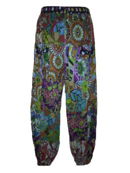 Patchwork part lined harem floral trousers