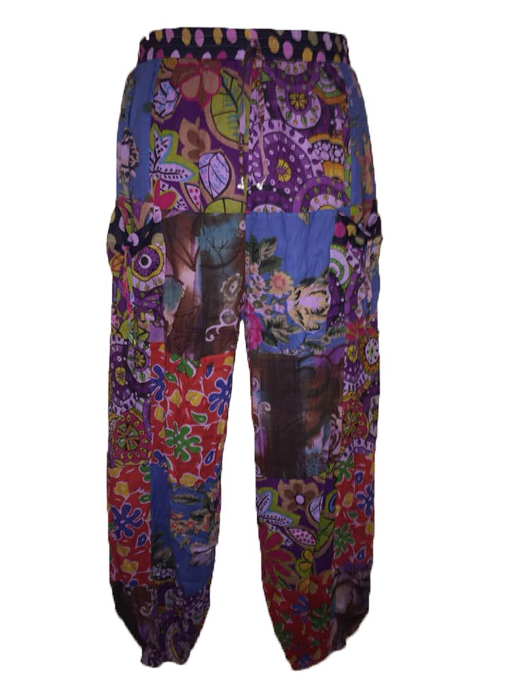 Patchwork part lined harem floral trousers