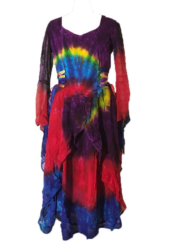 Gorgeous tie dye faerie rainbow  skies dress