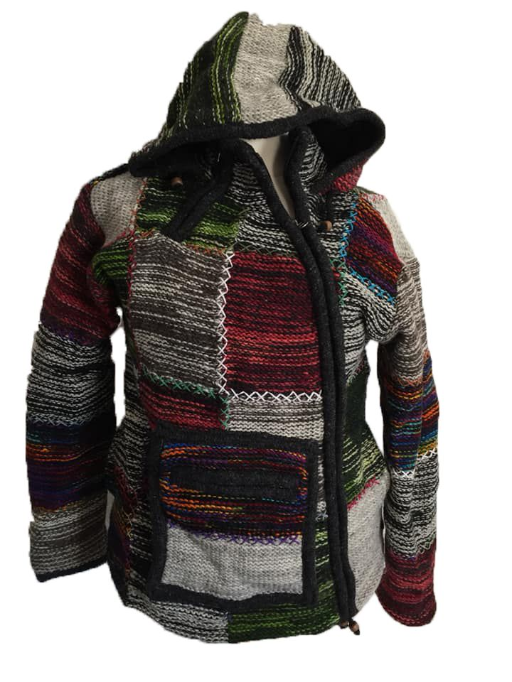 Fleece lined wool jacket with criss cross stitching 36 inches bust / chest