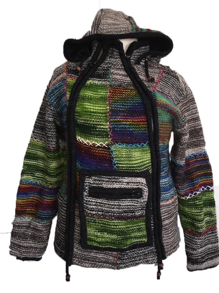 Fleece lined wool jacket with criss cross stitching  36-38 inches bust / ch