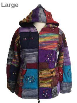 Fleece lined ethnic overlock patchwork jacket