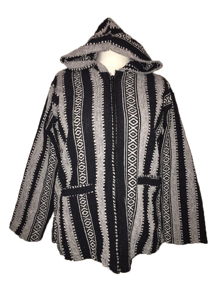 Funky hippy zip front jerga hoodie jacket