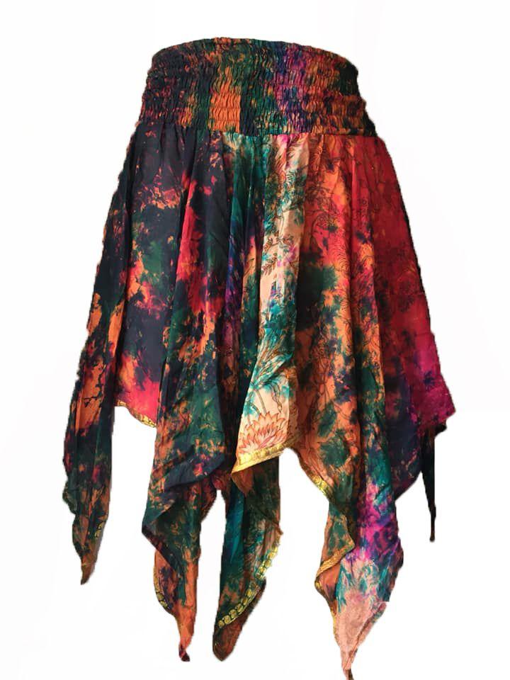 Rimini fae drip silk pixie skirt,hippy, faerie , belly dance
