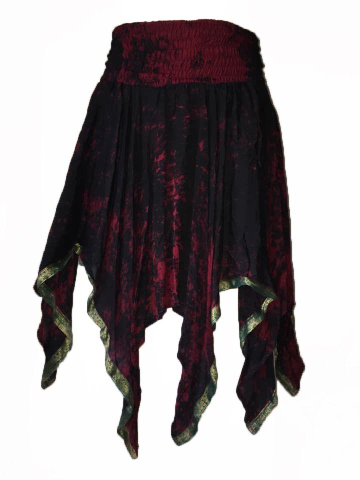 Rimini fae drip silk pixie skirt,gothic dark- faerie , belly dance
