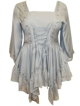 Whimsical enchated lace up front top