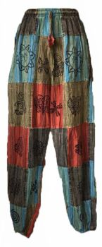 Patchwork ethnic harem trousers elasticated at the ankle