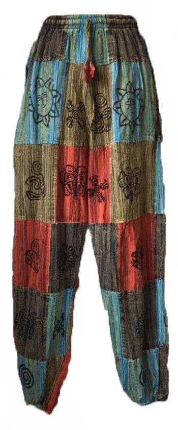 Patchwork ethnic harem trousers