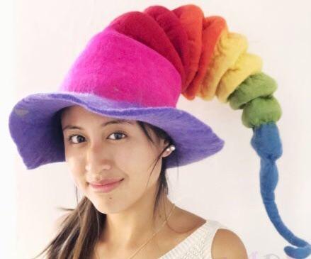 Mythical rainbow funky felt hat