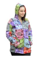 Cozy fleece lined patchwork hippy festival hoody