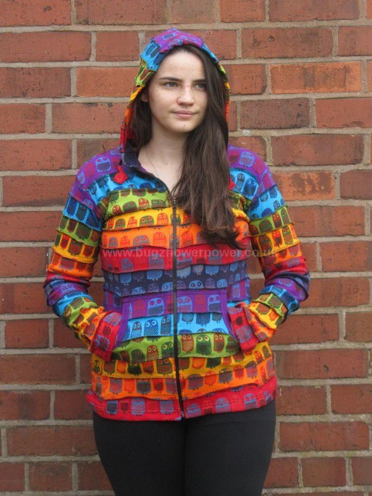 Funky Owl twit twooooo rainbow hippy festival hoody
