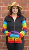 Funky black and  rainbow  sleeve hippy festival hoody [bd222]
