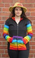 Funky black and  rainbow  sleeve hippy festival hoody [bd222]