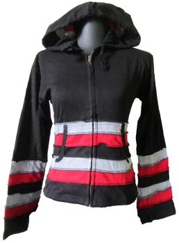 Funky black ,grey and red hippy festival hoody