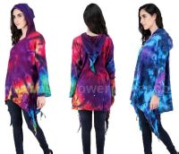 *Tie dye pixie hood fae top [plus size]