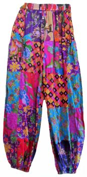 Floral patchwork hippy harem trousers