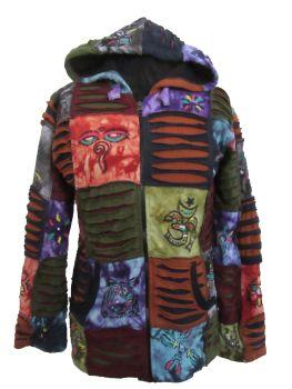 Cozy fleece lined patchwork hippy festival hoody