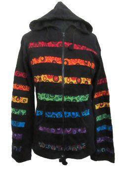 Funky black and  rainbow bubble stripe  hippy festival hoody