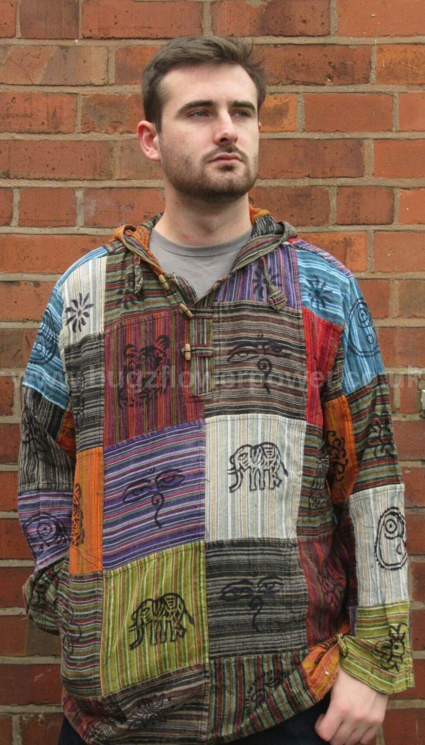 Unisex printed patchwork hooded shirt