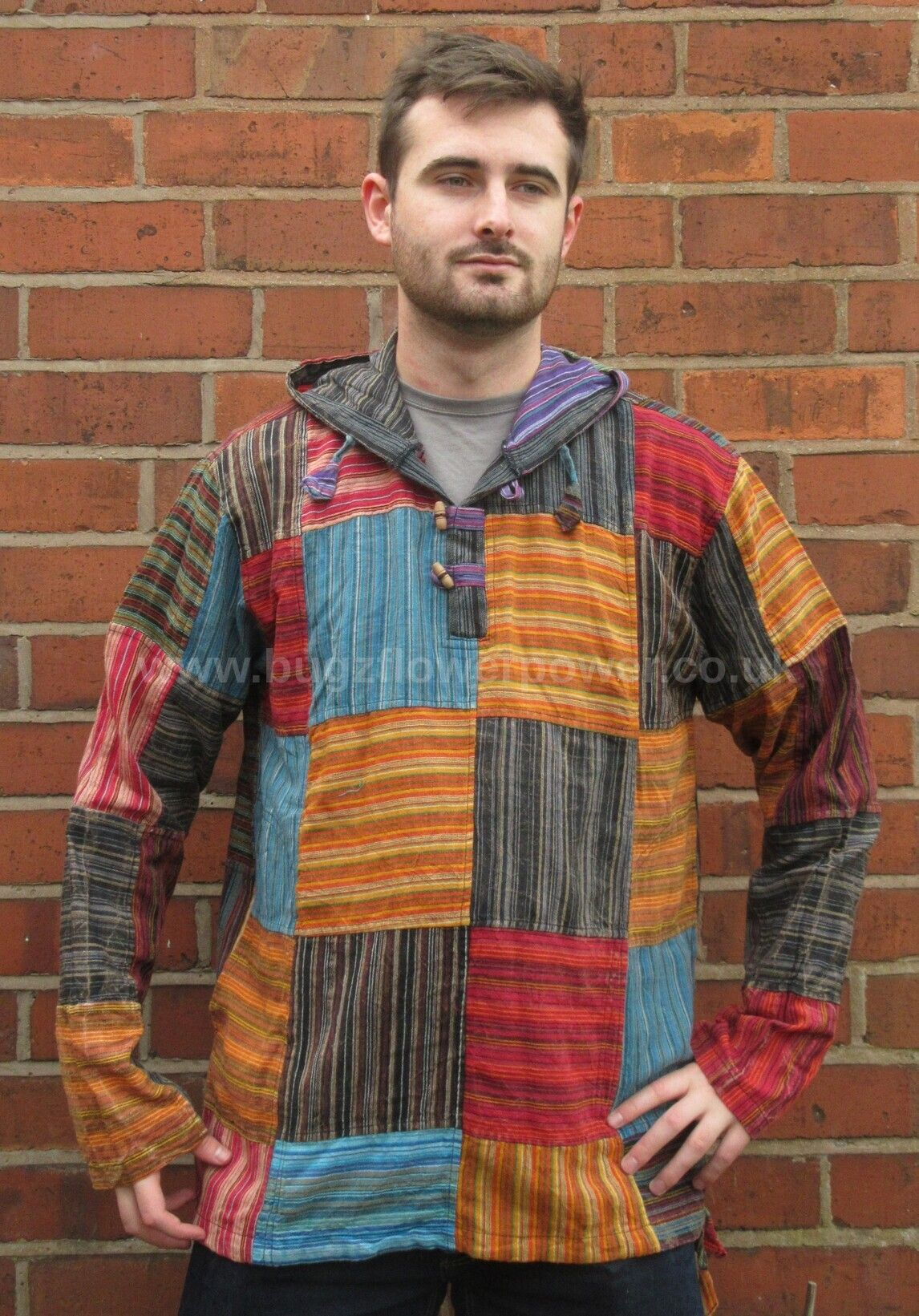 Unisex  patchwork hooded shirt
