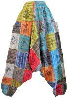Hamari criss cross stitch patchwork harem trousers