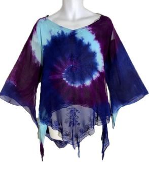 *Whimsical tie dye floaty pixie hem  top
