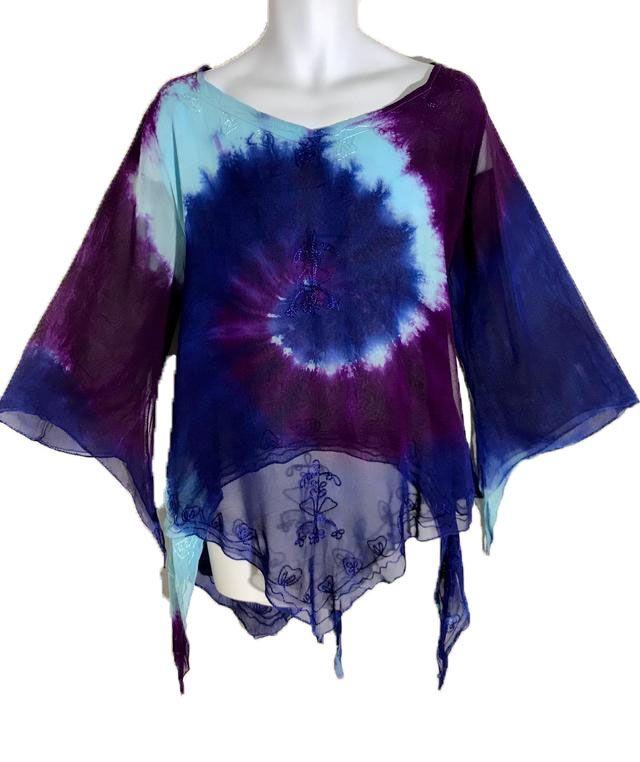 Whimsical tie dye floaty pixie hem  top