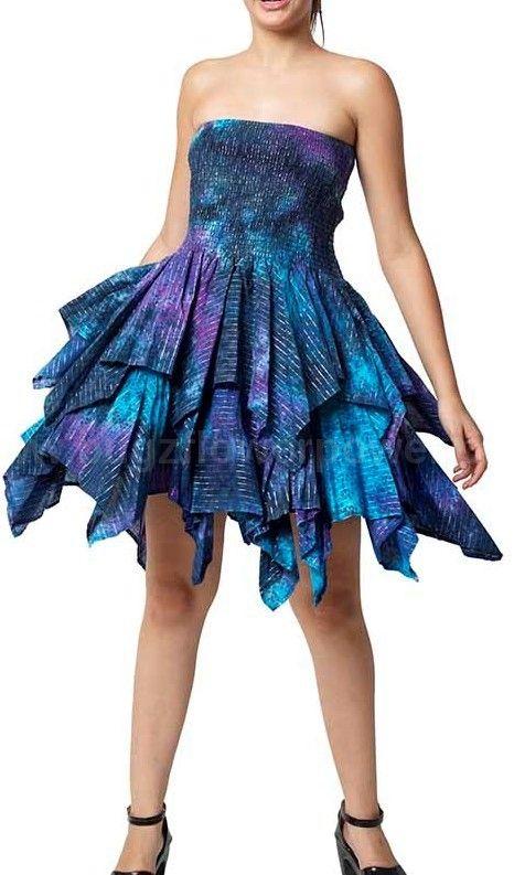 Ella sparkly   mini tye dye frill dress
