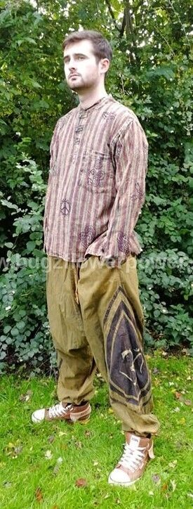 Stone washed harem trousers