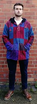 *Cotton patchwork  over head fleece lined jacket