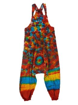Funky tie dye harem  dungarees